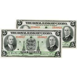 THE ROYAL BANK OF CANADA.  $5.00.  Jan. 2, 1935.  CH-630-18-02a.  Large signatures.  No. 1538817 & N