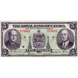 THE ROYAL BANK OF CANADA.  $5.00.  Jan. 2, 1943.  CH-630-20-02.  No. 075603/D.  PMG graded Very Fine