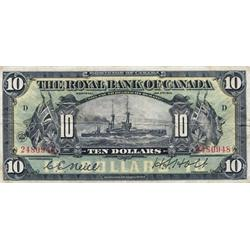 THE ROYAL BANK OF CANADA.  $10.00.  Jan. 2, 1913.  CH-630-12-08.  No. 2480948/D. PMG graded Very Fin