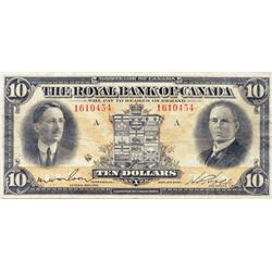 THE ROYAL BANK OF CANADA.  $10.00.  Jan. 3, 1927.  CH-630-14-08.  No. 1610454/A.  PMG graded Very Fi