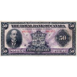 THE ROYAL BANK OF CANADA.  $50.00.  Jan. 3, 1927.  CH-630-14-16.  No. 002552.  PMG graded Very Fine-