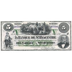 LA BANQUE DE ST. HYACINTHE.  $5.00.  July 1, 1880.  CH-645-12-02R.  A Remainder. No. 39104/C. PCGS g