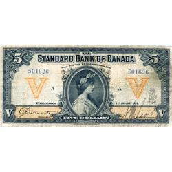 THE STANDARD BANK OF CANADA.  $5.00.  Jan. 2, 1919.  CH-695-18-12.  No. 501626/A.  PMG graded Fine-1