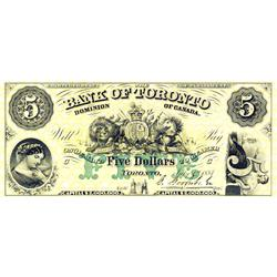 THE BANK OF TORONTO.  $5.00.  July 1, 1887.  CH-715-22-10P.  A full colour Face Proof on thin paper