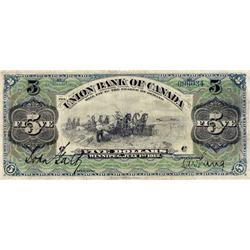 THE UNION BANK OF CANADA.  Winnipeg Issue.  $5.00.  July 1, 1912.  CH-730-16-04.  No. 099034/C.  PMG