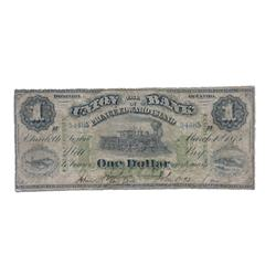THE UNION BANK OF PRINCE EDWARD ISLAND.  $1.00.  Mar. 1, 1875.  CH-755-14-02.  No. 54485/B.  PMG gra