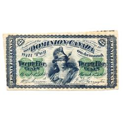 DOMINION OF CANADA. 25 CENTS.  Jan. 2, 1870-A.  DC-1a.  Letter 'A' under date.  PMG graded Fine-15.