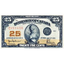 DOMINION OF CANADA.  25 CENTS.  July 2, 1923.  DC-24a.  Hyndman-Saunders.  With 'Authorized, etc.'