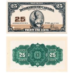 DOMINION OF CANADA.  25 CENTS.  July 2, 1923.  DC-24aP.  Full colour, thin paper Face and Back Proof