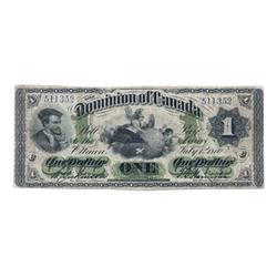 DOMINION OF CANADA.  $1.00.  July 1, 1870. Small Date.  DC-2a.  Payable at Montreal.  No. 511352/C.
