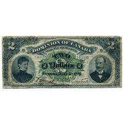 DOMINION OF CANADA.  $2.00.  July 2, 1887.  DC-11-i.  Signed Courtney, right.  No. 103095/D.  BCS gr
