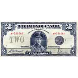 DOMINION OF CANADA.  $2.00.  June 23, 1923.  DC-26f.  Black Seal.  No. M-759569/B.  Fine.