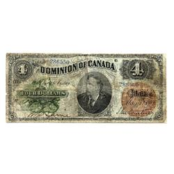 DOMINION OF CANADA.  $4.00.  May 1, 882.  DC-10.  No. 286550/B.  PMG graded Fine-12.