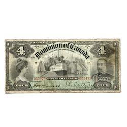 DOMINION OF CANADA.  $4.00.  Jan. 2, 1902.  DC-17a.  Courtney.  No. 055479/D.  PMG graded Very Good-