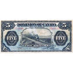 DOMINION OF CANADA.  $5.00.  May 1, 1912.  DC-21c.  Boville.  No Seal.  No. B503548/D.  GOOD.  Ex. L