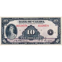 BANK OF CANADA.  $10.00.  1935 Issue.  BC-7.  French Text.  No. A1128579/C.  PMG graded Very Fine-25