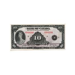 BANK OF CANADA.  $10.00.  1935 Issue.  BC-7.  English Text.  No. A569244/B.  PCGS graded AU-50.