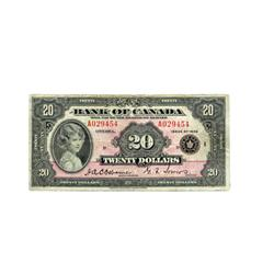 BANK OF CANADA.  $20.00.  1935 Issue.  BC9a.  English Text. Large Seal.  No. A029454/D.  PMG graded