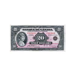 BANK OF CANADA.  $20.00.  1935 Issue.  BC-10.  French Text.  No. F013810/A.  Choice Very Fine.