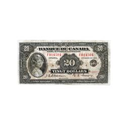 BANK OF CANADA.  $20.00.  1935 Issue.  BC-10.  French Text.  No. F014504/B.  PMG graded VG-10. Net.