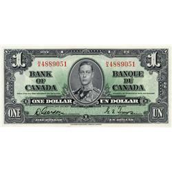 BANK OF CANADA.  $1.00.  1937 Issue.  BC-21b.  Gordon-Towers.  Narrow Panel.  No. H/A4889051.  Choic