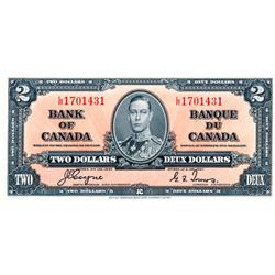 BANK OF CANADA.  $2.00.  1937 Issue.  BC-22c.  No. L/R1701431.  PMG graded Unc-64.  PPQ.