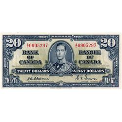 BANK OF CANADA.  $20.00.  1937 Issue.  BC-25a.  Osborne-Towers.  No. A/E0905297.  CCCS graded Unc-60