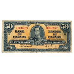 BANK OF CANADA.  $50.00.  1937 Issue.  BC-26a.  Osborne-Towers.  No. A/H0040977.  PMG graded Fine-15