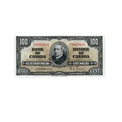 BANK OF CANADA.  $100.00.  1937 Issue.  BC-27a. Osborne-Towers. No. A/J0003481.  CCCS graded Unc-63.