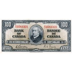 BANK OF CANADA.  $100.00.  1937 Issue.  BC-27b.  Gordon-Towers.  No. B/J3581321.  Unc-60.  Ex. L. Kn
