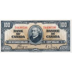 BANK OF CANADA.  $100.00.  1937 Issue.  BC-27c. Coyne-Towers.  No. B/J4430536.  PMG Unc-63.