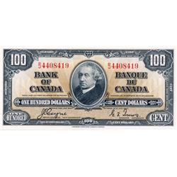 BANK OF CANADA.  $100.00.  1937 Issue.  BC-27c. Coyne-Towers.  No. B/J 4408419.  PCGS graded AU-58.