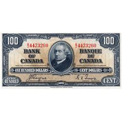BANK OF CANADA.  $100.00.  1937 Issue.  BC-27c. Coyne-Towers.  No. B/J4473260.  PMG graded AU-55.  E
