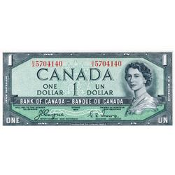 BANK OF CANADA.  $1.00.  1954 Issue.  'Devil's Face'. BC-29a.  No. B/A5704140.  PCGS graded Unc-64.
