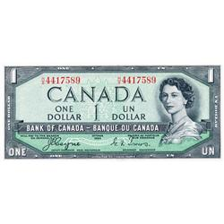 BANK OF CANADA.  $1.00.  1954 Issue.  'Devil's Face'. BC-29a.  No. H/A4417589.  PCGS graded Unc-64.
