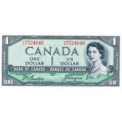 BANK OF CANADA.  $1.00.  1954 Issue.  'Devil's Face'. BC-29b.  No. O/A7524040.  PCGS graded Unc-65.