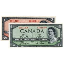 BANK OF CANADA.  $1.00.  1954 Issue.  'Devil's Face'. BC-29a. No. B/A2511598. Unc;  $2.00.  1954 Iss