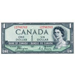 BANK OF CANADA.  $1.00.  1954 Issue.  'Devil's Face'. BC-29a.  No. A/A2616963.  PCGS graded CH AU-58