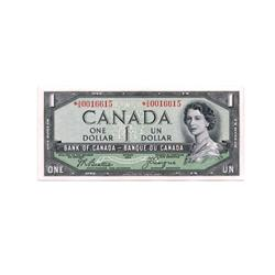 BANK OF CANADA.  $1.00.  1954 Issue.  'Devil's Face'. BC-29bA.  Beattie-Coyne.  No. *A/A0016615.  Ch