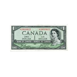 BANK OF CANADA.  $1.00.  1954 Issue.  'Devil's Face'. BC-29bA.  Beattie-Coyne.  No. *A/A0018622.  PM