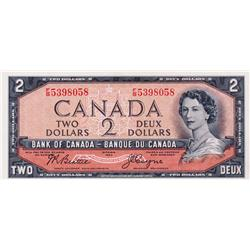 BANK OF CANADA.  $2.00.  1954 Issue.  BC-30b.  'Devil's Face'.  Beattie-Coyne.  No. F/B5398058.  PMG