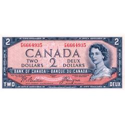 BANK OF CANADA.  $2.00.  1954 Issue.  BC-30b.  'Devil's Face'.  Beattie-Coyne.  No. F/B6664935.  PCG