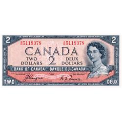 BANK OF CANADA.  $2.00.  1954 Issue.  BC-30b.  'Devil's Face' Issue.  Beattie-Coyne.  No. D/B5119378