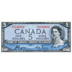 BANK OF CANADA.  $5.00.  1954 Issue.  BC-31a.  'Devil's Face'.  Coyne-Towers.  No. B/C3142602.  Unc.
