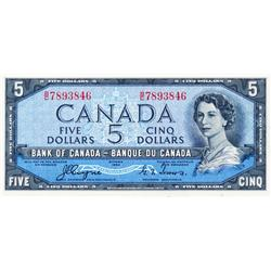 BANK OF CANADA.  $5.00.  1954 Issue.  BC-31a.  'Devil's Face'.  Coyne-Towers.  No. B/C7893846.  PMG