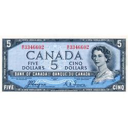 BANK OF CANADA.  $5.00.  1954 Issue.  BC-31a.  'Devil's Face'.  Coyne-Towers.  No. B/C3346602.  PCGS