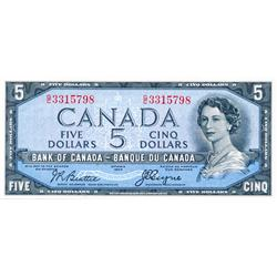 BANK OF CANADA.  $5.00.  1954 Issue.  BC-31b.  'Devil's Face'.  Beattie-Coyne.  No. G/C3315798.  PCG