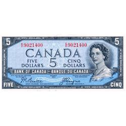 BANK OF CANADA.  $5.00.  1954 Issue.  BC-31b.  'Devil's Face'.  Beattie-Coyne.  No. E/C9021400.  PCG