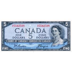 BANK OF CANADA.  $5.00.  1954 Issue.  BC-31b.  'Devil's Face'.  Beattie-Coyne.  No. D/C5542598.  PCG