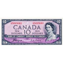 BANK OF CANADA.  $10.00.  1954 Issue.  BC-32a.  'Devil's Face'.  Coyne-Towers.  No. C/D5085643.  PMG
